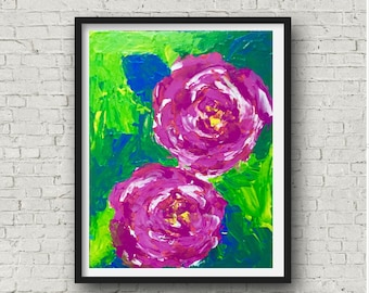 Pink Rose Painting, Floral Abstract, Pink Abstract Art, Original Canvas, Abstract Pink Painting