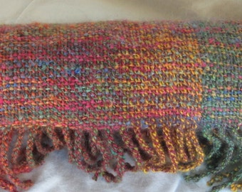 Rainbow Harvest - hand woven, hand spun, wool and mohair scarf