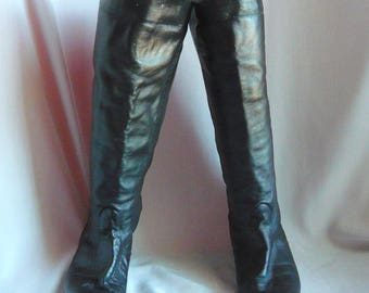 Vintage 90s PIRATE Boots BLACK Leather / size 7 m EU 37 .5 / Slouch Cuffed Pixie Knee Boot Flat Heel / made Uruguay