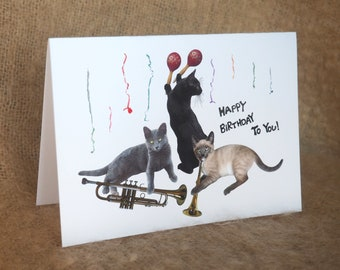 Musical Trio of Cats Printable Birthday Card, Party Cats Digital Birthday Card