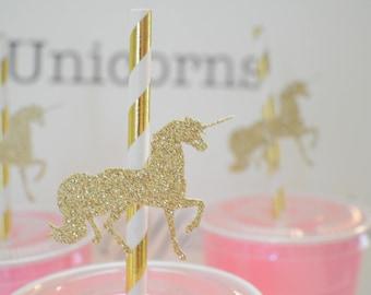 Unicorn straws, unicorn party decor, unicorn cake topper