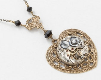Steampunk Necklace, Gold Heart Pendant with Antique Silver Watch Movement on Victorian Flower Filigree with Black Swarovski Crystal 3011