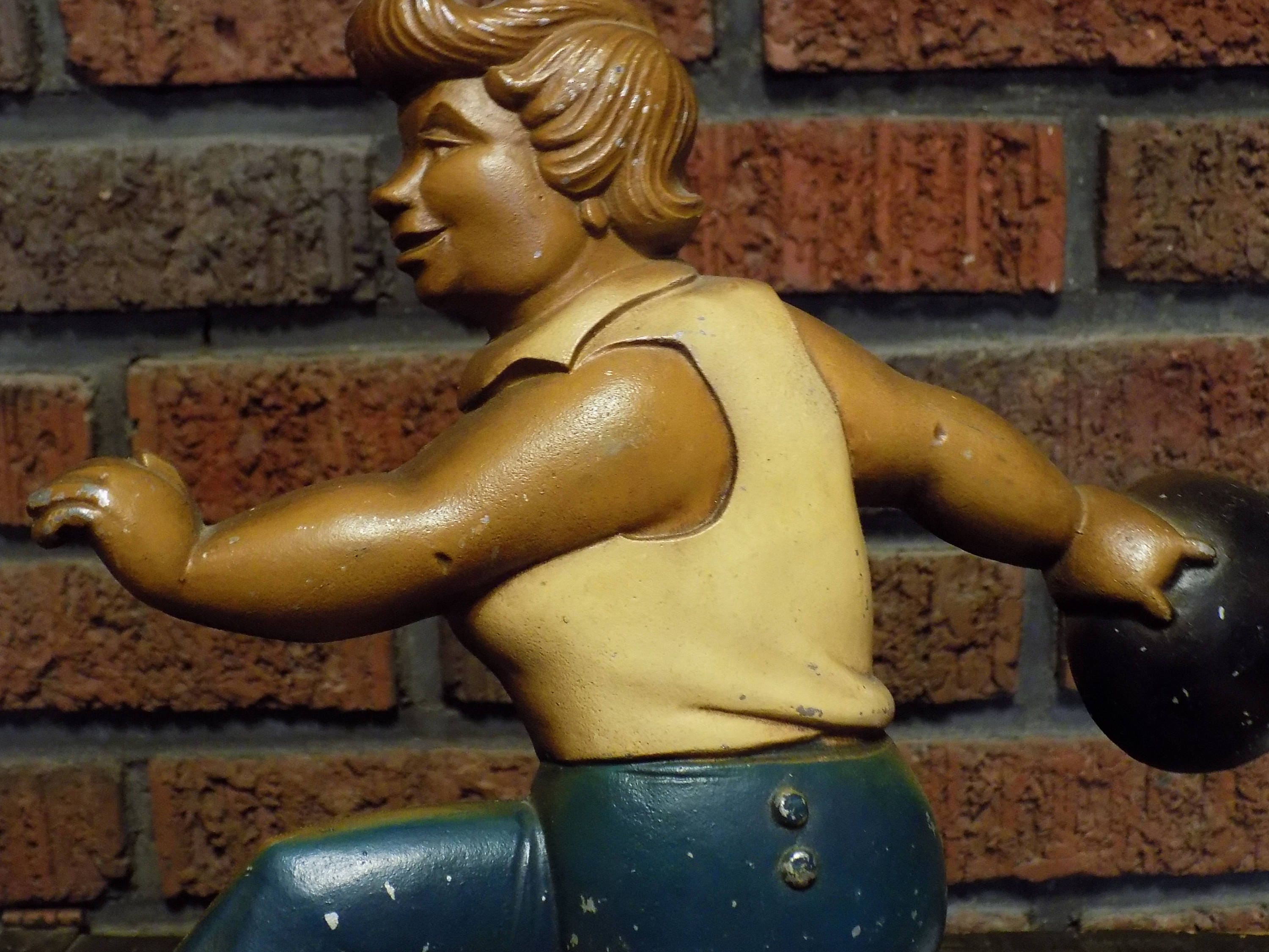 Vintage 60s Bowling Betty Sexton Cast Metal Wall Hanging