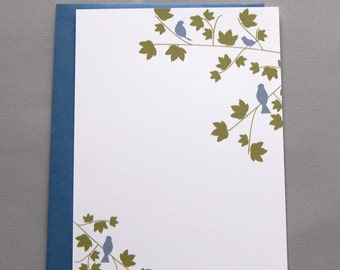 Blue Birds in Trees A2 Flat Note Cards (Set of 10)