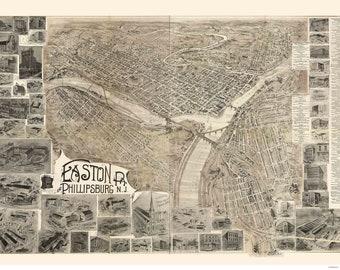 Easton Pennsylvania -1900 - Birds Eye View Reprint