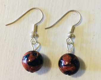 Red & Blue Goldstone Earrings