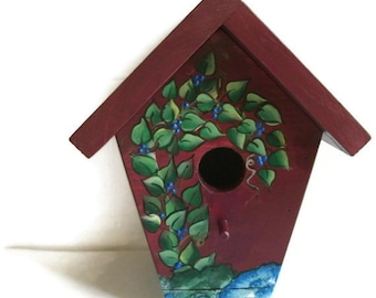 Barn Red, Hand Crafted, Bird House, Hand Painted Birdhouse, Blue Berries-Made In The USA-Ready To Ship