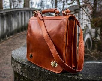 Brown leather messenger Bag, Father's Dat,  Mens Leather briefcase, Leather bag mens, Leather laptop bag, Leather shoulder bag-The Alchemist