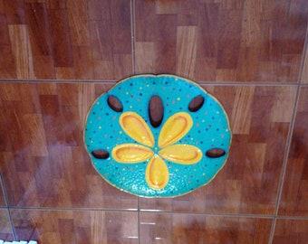 Sand dollar (Green/Orange) Metal Wall Art  (EA)