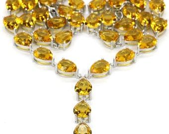 "Sterling Silver Golden Citrine Gemstone Necklace 20"""