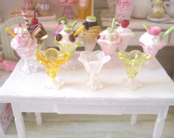 SET of 3 miniature dioramas dessert bowls
