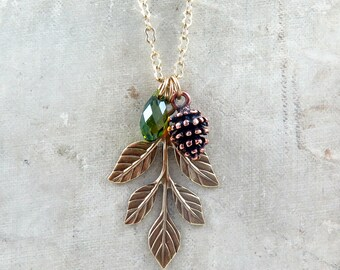 Outdoor Gift Leaf Necklace Pine Cone Necklace Explorer Gift Leaf Pendant Pinecone Necklace Gift for Her