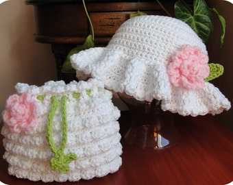 Hat and Purse CROCHET PATTERN Hat Baby Girl Child Wedding Easter 3 sizes
