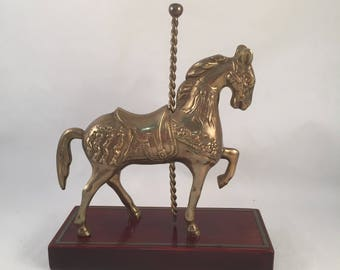 Solid Brass Carousel Horse Set on a Lacquered Wood Base, Detailed Design on Horse, Great Condition, Beautiful Solid Piece, Brass Horse