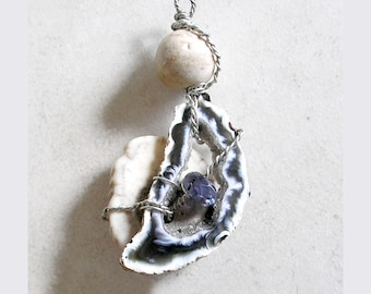 Healing Stones Amulet Talisman Pendant Iolite Agate Antler Wire Wrapped Metaphysical Jewelry