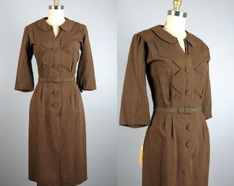 Vintage 1950s Brown Gingham Dress 50s NOS Wool Gabardine Dress by Betty Hartford Size M/L
