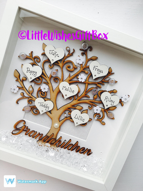 Grandchildren Family Tree Box Frame, freestanding or wall hung ...