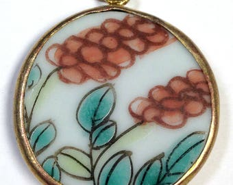 ANTIQUE Chinese PORCELAIN Shard PENDANT Qing Dynasty Orange Flower Green Leaves pt296