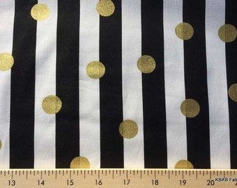 Black & White Striped Fabric with Gold Dots Fabric By the Yard or Half Yard Gold Dot Stripe Fabric Cotton Quilting Fabric a3-10
