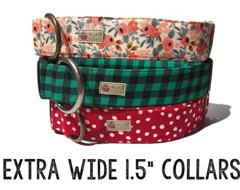 "Extra Wide 1.5"" wide Dog Collars -  Organic Cotton - Antique Metal Hardware - Antique Brass or Antique Silver - Choose Your Pattern!"