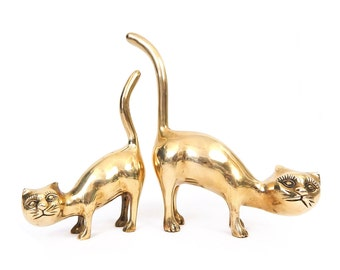 Vintage 60s 70s Brass Cat Statues - Pair of Whimsical Crouching Kitty Cat Figures with Tails in the Air