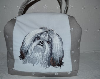 Suitcase/toiletry bag/dog embroidery