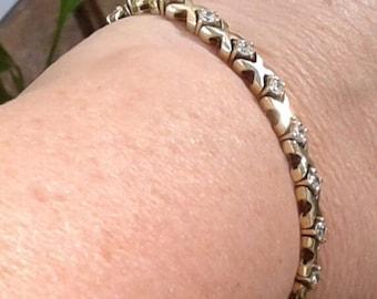 Bracelet gold DBJ tenisse bracelet cubic zirconia bracelet, vintage, 925 sterling silver, zirconia, vintage bracelet, gold bracelet