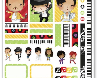 Music Legends Decorating Kit / Weekly Spread Planner Stickers for Erin Condren Planner, Filofax, Plum Paper