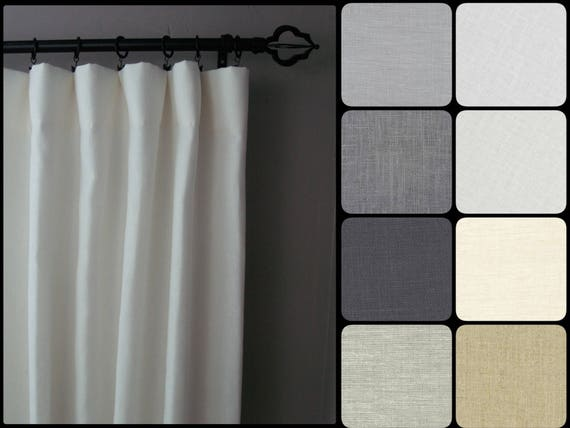 Blackout Linen Curtains: Pair Of 100% Linen Curtain Panels In