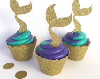 Mermaid Cupcake Toppers, Mermaid Tail Toppers, Mermaid Glitter Cupcake Toppers, Glitter Mermaid Toppers, Mermaid Toppers, Cupcake Toppers