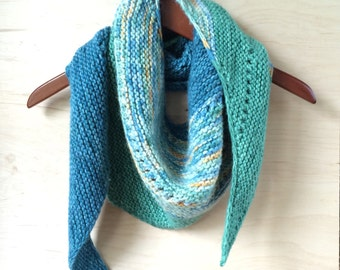 Shawl, chunky, asymmetrical, wool, hand knit, hand dyed, scarf, knit