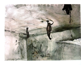 1976 Andrew Wyeth Print - Study for Karl - 10 x 13 Vintage Book Page