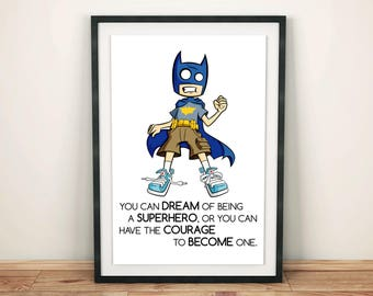 Batman Poster, Batman Print, Batman Art, Superhero Poster, Superhero Print, Superhero Art, Dad Gift, Husband Gift, Boy Gift, Boys Room Decor