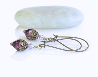Purple Brass Earrings, Brass Earrings, Swarovski Crystals, Victorian Earrings, Edwardian Earrings, Ultra Violet Earrings, Gift For Her
