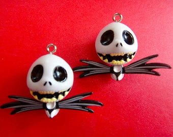 Set of 2 Jack Skeleton Charms - Kawaii Supply for Crafts and Jewelry
