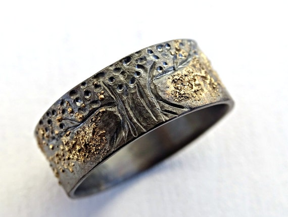 Unique Viking Ring Celtic Wedding Band Tree Of Life Ring