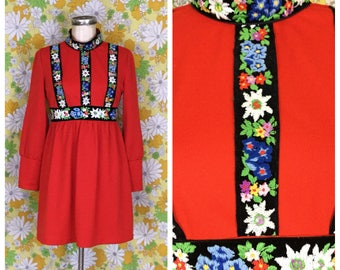 SALE! 70s Vintage Vicky Vaughn Embroidered Red Mini Dress Small XS