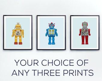 Retro Robot Art Print for Kids, Robot Decor, Science Fiction Art for Kids Rooms or Robot Nursery Decor- Kid Bedroom - Kids Art