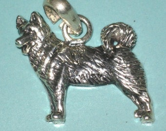 Vintage Sterling Silver AKITA DOG Charm or Pendant (Handmade Lisa Greene Fine Arf Collection)