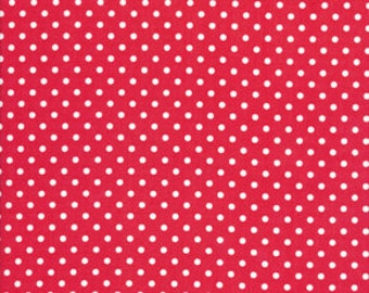 Delilah Fabric By Tanya Whelan Small Pin Dots Polka Dot White on Candy Red Pink
