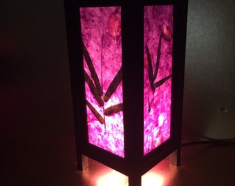 """Asian Oriental Design Bamboo Leaves Bedside Floor or Table Lamp Saa paper  11"""" height"""