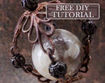 DIY Free Tutorial How To Make: Filigree Cage 14 16 18 20 22  mm Round Gemstone Sphere Bead Cap Holder Pendant Necklace Jewelry Vintage Brass