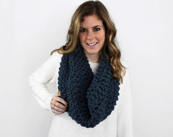 Chunky Knitted Cowl Scarf Denim- Anacostia Cowl
