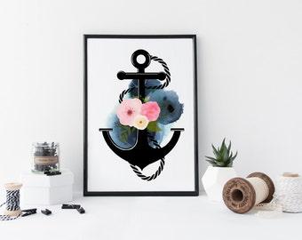 Anchor wall art, watercolor art print, nautical art print, poster, marine illustration, flowers, floral, home wall decor, modern, blue