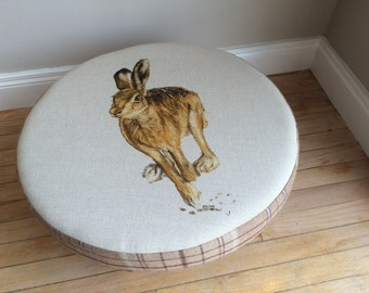 Hare Round Footstool By Artist Grace Scott