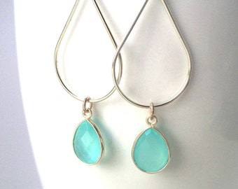Aqua Chalcedony Silver Earrings, Aqua Sterling Teardrop Hoop Earrings, Aqua Mint Chalcedony Earring,