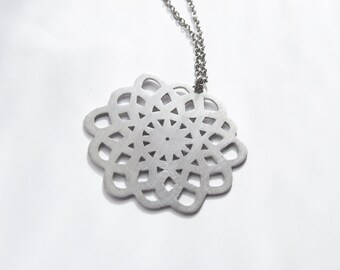 Napperon n1 - handmade sterling silver pendant - lace pendant - long necklace - silver lace - handmade jewelry - silver pendant