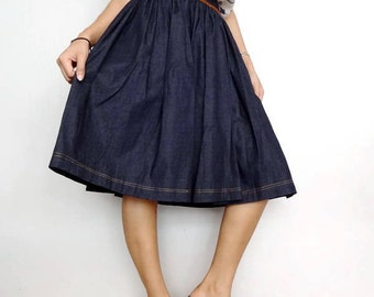 Denim Cotton Women Skirt Knee Length ,Comfortable Unique,Jeans Lightweight (Skirt-4).