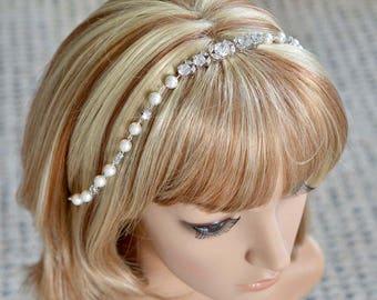 Handmade Cubic Zirconia CZ and Pearl Bridal Hairband Hair Piece, Bridal, Wedding (Pearl-847)