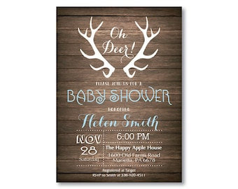 Deer Baby Shower Invitation. Rustic Deer Antler Baby Shower Invitation. Rustic Wood. Baby Boy or Girl Shower. Blue Pink. Printable Digital.